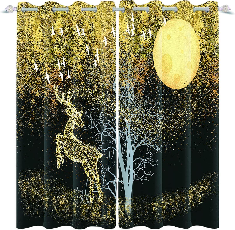 Yeele Christmas Curtains Full Moon Black Night Scenery Gold Glit