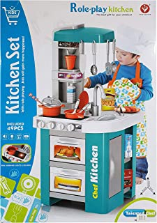 Children Electronic Pretend Toy Kitchen Role Play Set Blue