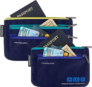 Travelon World Travel Essentials Set Of 2 Currency and Passport Organizers, Lush Blue
