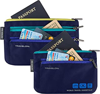 World Travel Essentials Set Of 2 Currency and Passport Organizers, Lush Blue