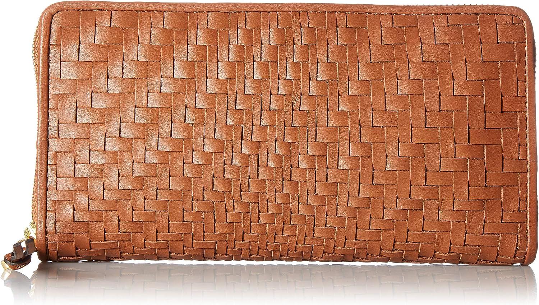 Cole Haan Genevieve Leather Woven Zip Around Continental Wallet