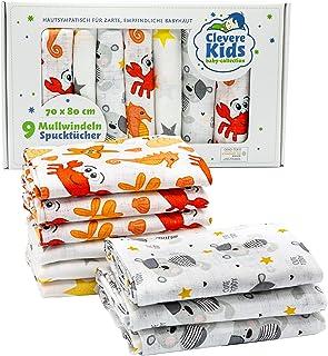 Clevere Kids - Paños de muselina | Paquete de 9 | Estampados | OEKO-TEX | Doble tejido | 70 x 80 | Paños para vómitos (Sun...