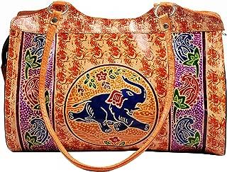 Zint Women's Boho Painted Handmade Leather Shantiniketan Shoulder Bag Elephant Design
