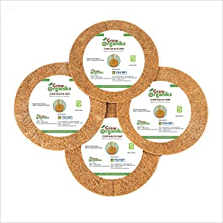 Grow Organiks Coco Coir Mulch Ring Tree Protector Weed Mat/ Natural Coir Fibre Weed Mat (36cm/14inch)-Pk of 10