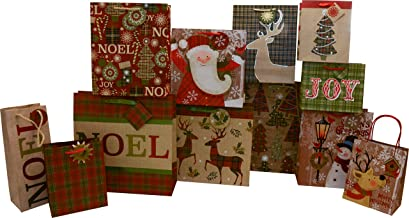 Christmas Gift Bags, Deluxe Edition Includes 12 Bags Bulk Assorted Sizes of Small, Medium, Large, Square and Vogue, Holiday Designs with Ribbon/Rope Handles (Christmas A)