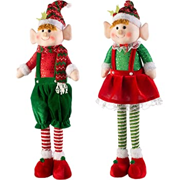 WeRChristmas Set of 9 Standing Christmas Elf Decorations, Multi-Colour, 9cm