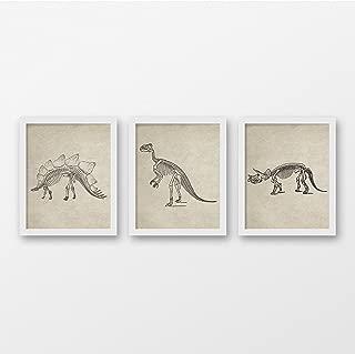 Vintage Dinosaur Skeleton Art Print Set of 3 - Vintage Wall Art - Children's Art Print - Skeleton Art Decor