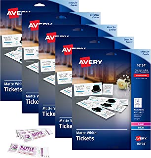 Avery Printable Tickets with Tear-Away Stubs White 1 3/4
