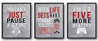 Brooke & Vine Video Game Wall Decor, Gaming Posters, Teen Boy Gamer Decor - Game Room, Playroom, Media Room, Bedroom, Dorm, Office, Desk, Mancave (Unframed 8 x 10 Set of 3 Prints) - Gaming Red