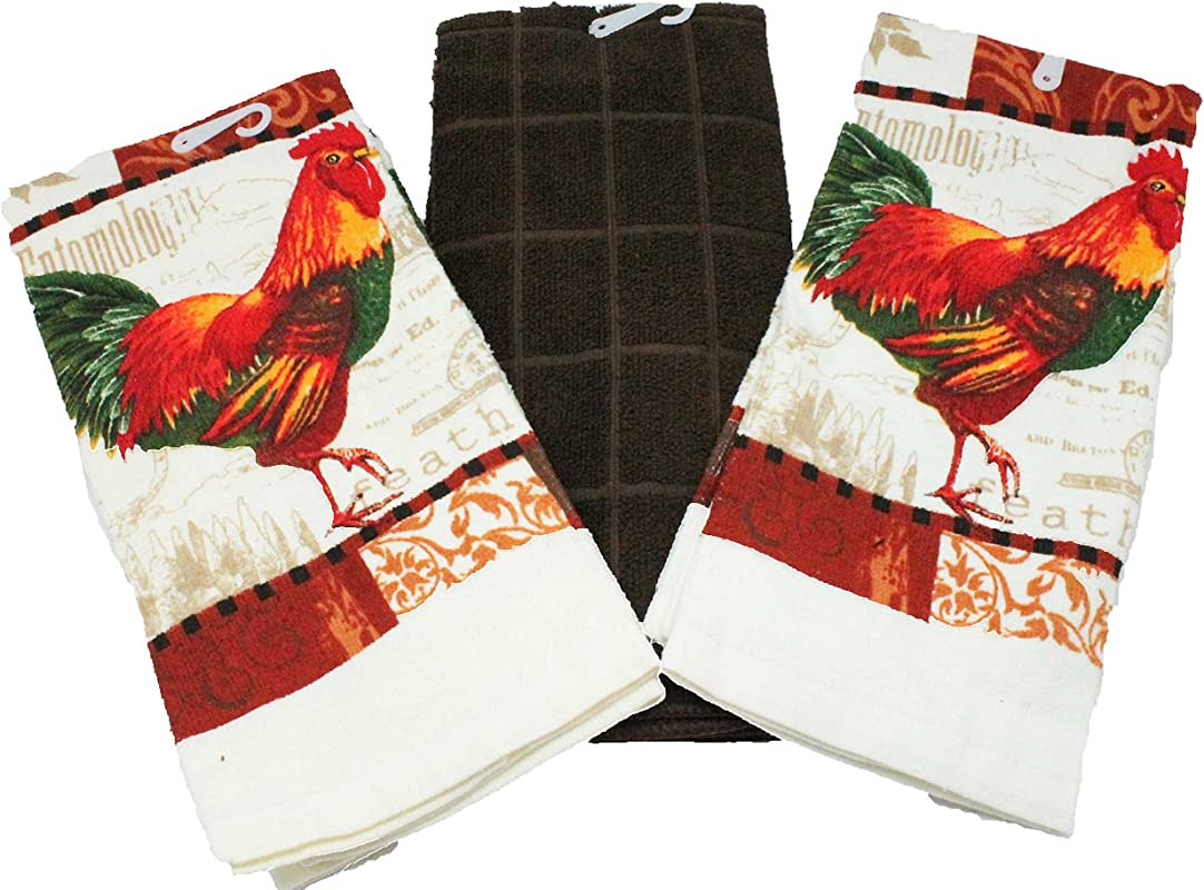 Twisted Anchor Trading Co Rooster Kitchen Towels Set Rooster Dish Towels 3 PC Gift Set Comes In Organza Gift Bag