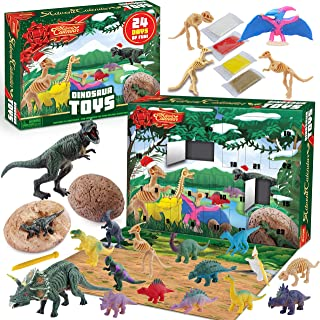 JOYIN Advent Calendar Digging Dinosaur Toy with 24 Tools, Eggs and Clay for Christmas 24 Days Countdown