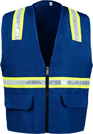 Safety Depot Non Ansi Safety Vest Zipper with Pockets High Visibility Reflective Red A520 2W XL