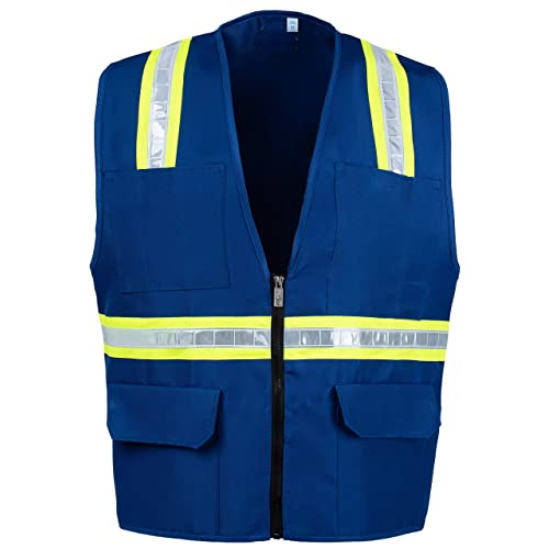 e68e6c0f62d0ec Safety Depot Safety Vest High Visibility Reflective Tape with 4 Lower  Pockets