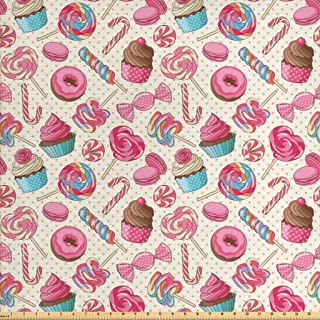 Ambesonne Candy Cane Fabric by The Yard, Yummy Lollipop Candy Macaroon Cupcake and Donut on Polka Dots Pattern, Decorative Fabric for Upholstery and Home Accents, 1 Yard, Pink Cream