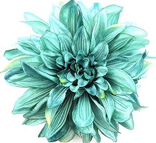 6 Teal Dahlia Silk Flower Brooch Pin with Locking Bale