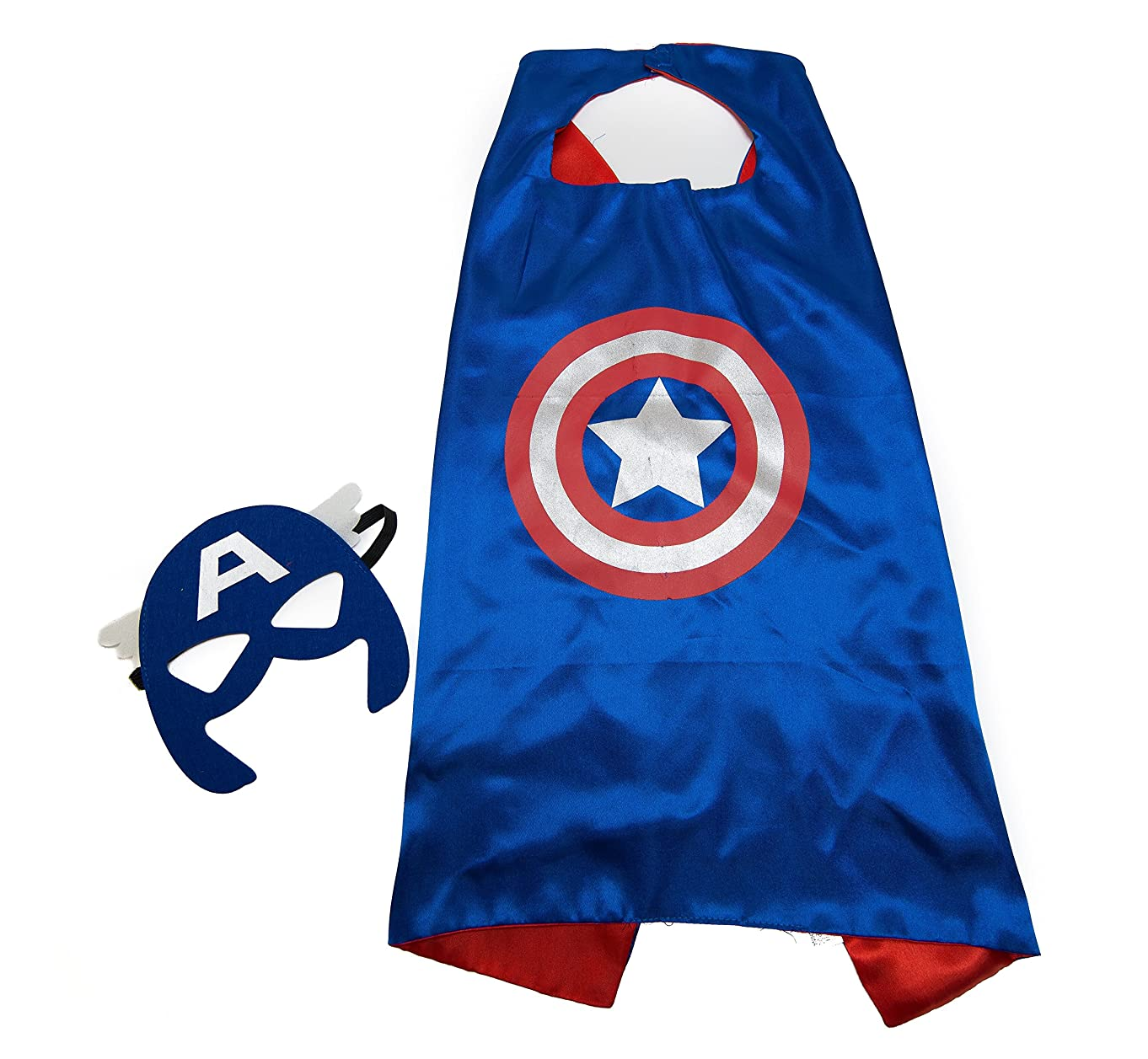 Kids Capes JDProvisions Captain America Blue and Mask Set (Captain America) (Blue)