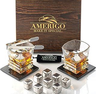 Amerigo Edelstahl Whisky Steine Geschenkset mit Whisky Gläser - Hohe Kühltechnologie - 8 Whiskey Eiswürfel Wiederverwendbar & 2 Luxus Untersetzer - Männer Geschenke - Papa Geschenk - Whisky Zubehör