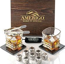 Amerigo Edelstahl Whisky Steine Geschenkset mit Whisky Gläser - Hohe Kühltechnologie - 8 Whiskey Eiswürfel Wiederverwendba...