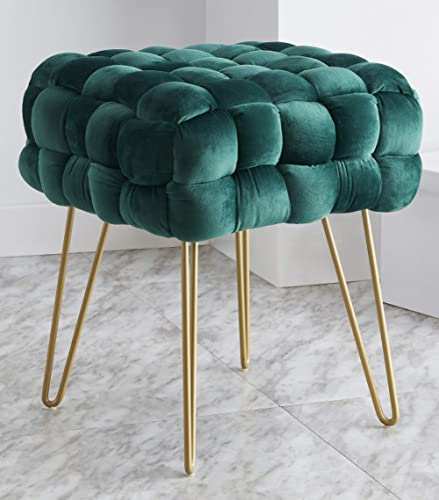 Ornavo Home Mirage - Otomana de terciopelo con patas metálicas doradas, diseño contemporáneo, color verde esmeralda