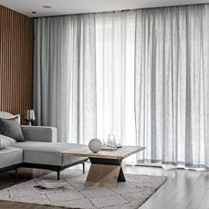 Home Brilliant Semi Sheer Curtains for Kitchen Window Gray Linen Curtain Panels for Living Room Drapes, Set of 2, 54 x 45 Inch, Light Grey