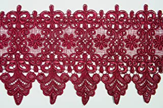 10 Colors Floral Embroidered Scalloped Venise Guipure Applique Lace Trim (Burgundy)