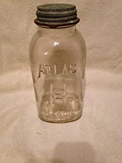 Hazel Atlas Mason Jar Half Gallon Size with Atlas Zinc Lid early to mid 1900's