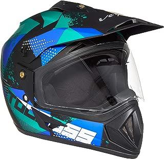 Vega Off Road D/V Moto X Full Face Helmet (Dull Black and Blue, Medium)