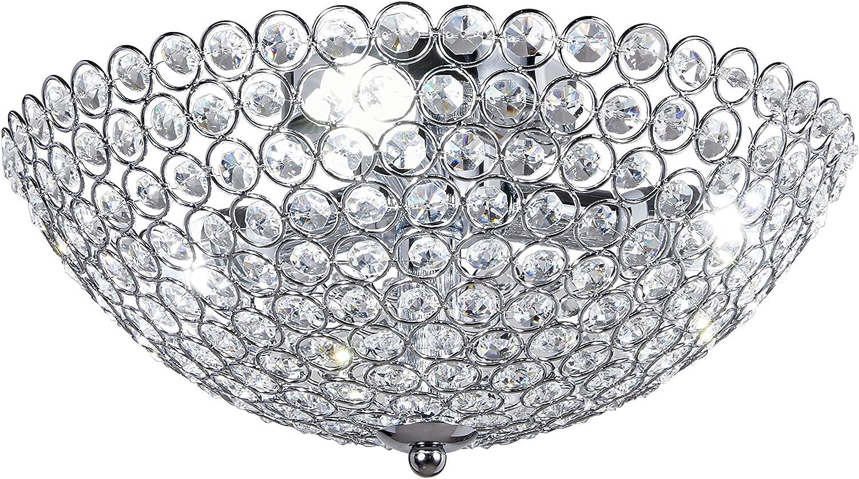 Broadway 13inch K9 Crystal Light Flush Mount,Chrome Light Fixture,Chandelier for Bedroom,Living room BL-AAJ X-L3