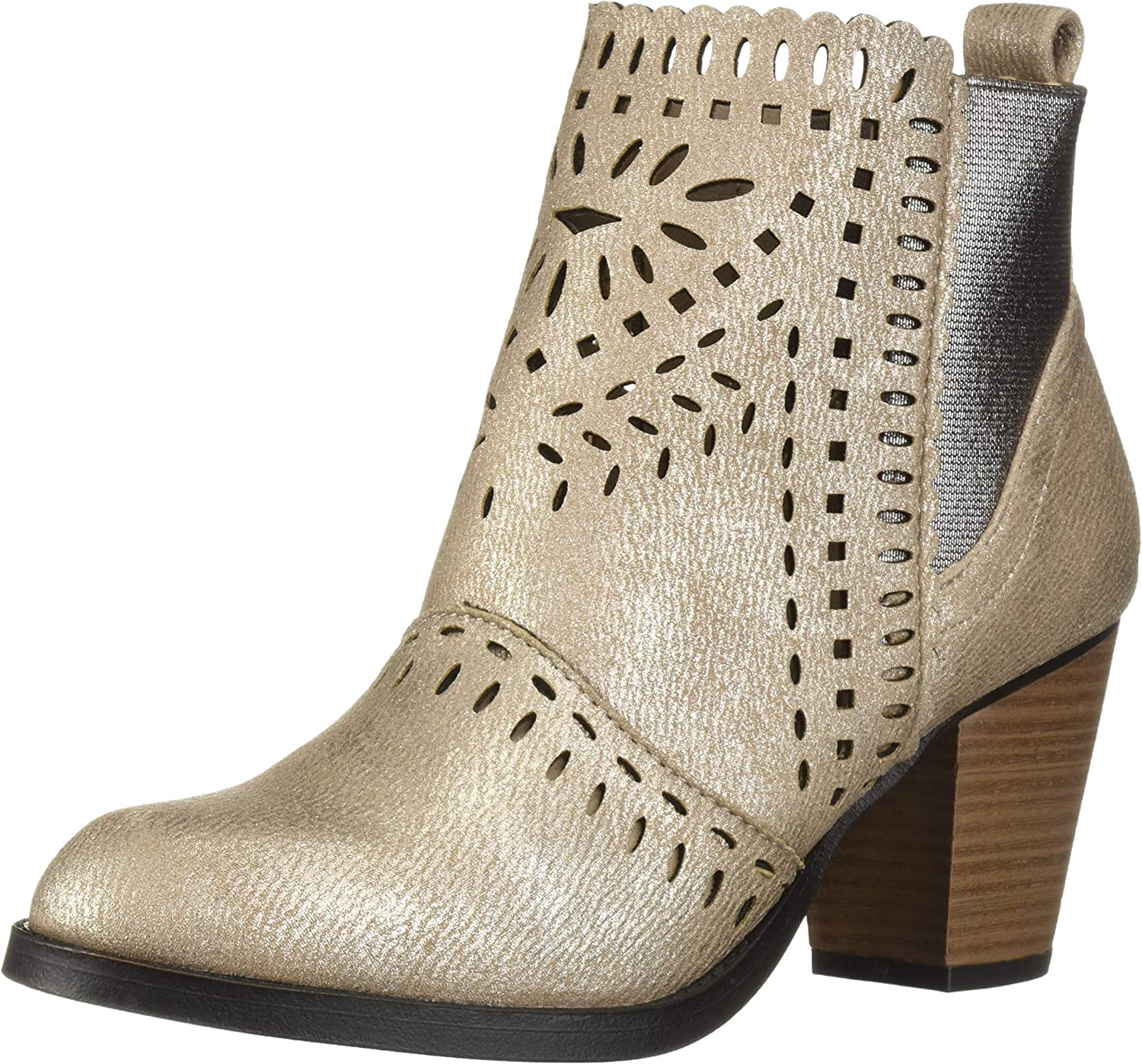 Rampage Womens Women's Echer Perforated Block Heel Ankle Bootie Ankle Boot