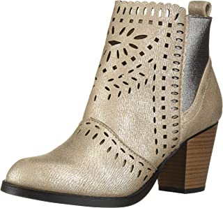 Rampage Women's Echer Perforated Block Heel Ankle Bootie Boot
