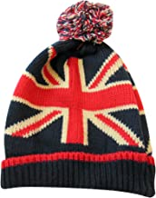 UK Union Jack Classic British Beanie with Tassel Pom Winter Hat, One Size