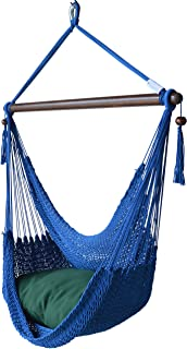 Caribbean Hammocks Chair with Footrest - 40 inch - Soft-Spun Polyester - (Dark Blue)