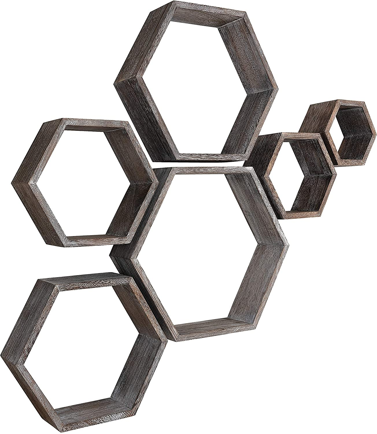 Honeycomb Floating Shelves, Set of 6, Natural Rustic Wood, Hexagon Wall Mount Decor for Living/Dining Room, Bedroom, Kitchen, Bathroom or Office Gallery Wall, Screws and Installation Manual Included