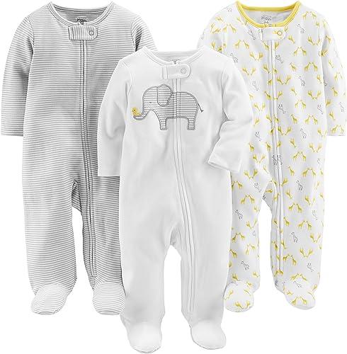 Simple Joys by Carter's Pies de algodón para Dormir y Jugar Unisex bebé, Pack de 3