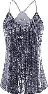 Women's Sleeveless Sparkle Shimmer Camisole Vest Sequin Tank Tops