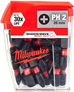 MILWAUKEE SHOCKWAVE 25 X PH2 25MM SCREWDRIVER BITS 4932430853