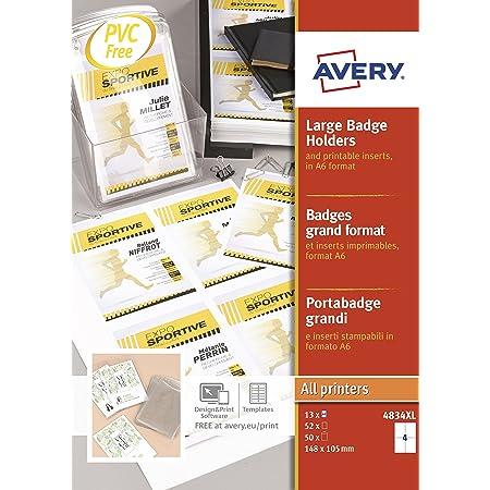 AVERY - Boite de 50 pochettes badges ''grand format'' en plastique souple transparent, 52 inserts imprimables fournis, Format 105 x 148 mm (A6), Impression laser / jet d'encre, (4834XL)