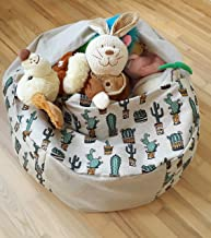 Stuffed Animal Storage Bean Bag Chair for Kids and Toddlers, Mini Cactus Succulents Pouf Ottoman, Mexican Style Handmade Cover, 24-Inch Space Saver