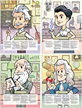 Motivational posters for kids - Educational Set of 4 Large Laminated Posters for Classroom, Homeschool or Bedroom - 18x24 (Albert Einstein, Rosalind Franklin, Charles Darwin & Isaac Newton)