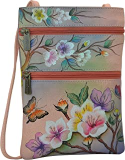 Women's Genuine Leather Hand Painted Double Zip Travel Crossbody Bag