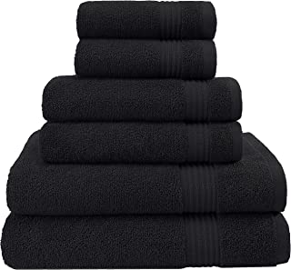 Hotel & Spa Quality, Absorbent and Soft Decorative Kitchen and Bathroom Sets, Cotton, 6 Piece Turkish Towel Set, Includes 2 Bath Towels, 2 Hand Towels, 2 Washcloths, Coal Black