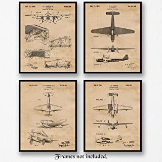 Original Vintage Airplane Patent Poster Prints, Set of 4 (8x10) Unframed Photos, Wall Art Decor Gifts Under 20 for Home, Office, Studio, Garage, Man Cave, College Student, Teacher, Pilot, Aviation Fan
