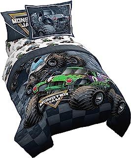 Monster Jam Slash 5 Piece Twin Bed Set - Includes Reversible Comforter & Sheet Set - Bedding Features Grave Digger & Megalodon - Super Soft Fade Resistant Microfiber - (Official Monster Jam Product)