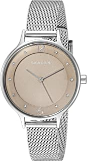 Skagen Women's Anita Analog-Quartz Watch with Stainless-Steel Strap, Silver, 12 (Model: SKW2649)