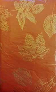 """Bountiful Harvest (Elrene) Etchings of Gold Flake Leaves on Assorted Colors Vinyl Flannel Back Tablecloth (52"""" x 70"""" Oblon..."""