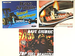 NHRA - Full Throttle Drag Racing Series - Dave Grubnic - Kalitta Motorsports - Top Fuel Dragster - Zantrex 3 / Autolite/Mac Tools - 3 Promo Cards - Out of Print - Rare - Collectible