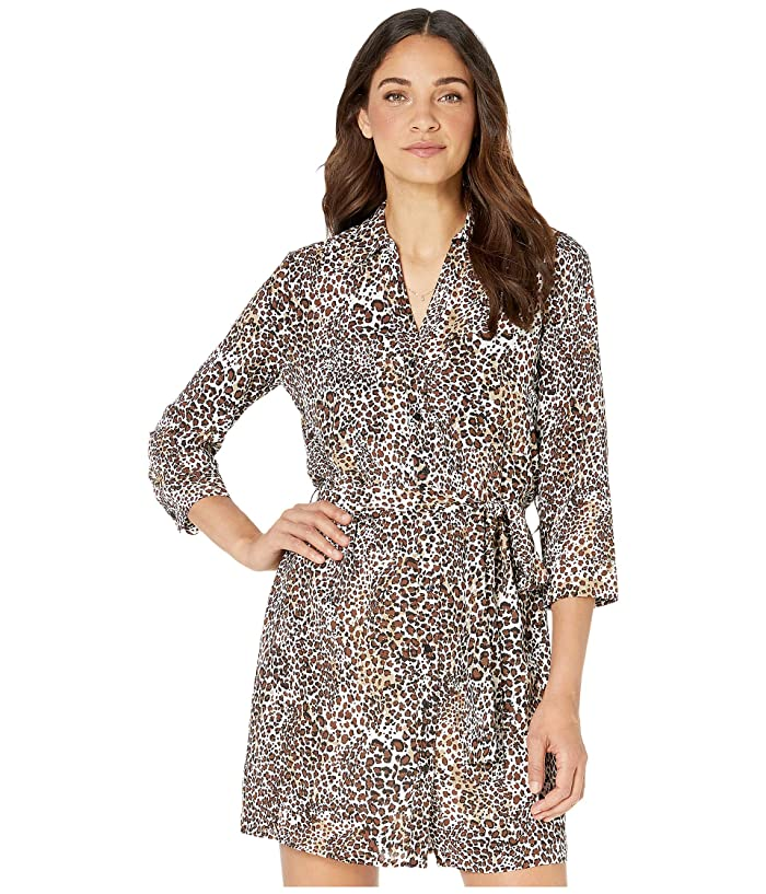 1.STATE  Long Sleeve Animal Beats Patch Pocket Shirtdress (Burnt Carmel Multi) Womens Dress