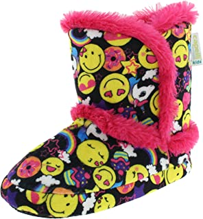 Space Dye Girls Knit Indoor Slipper Boot with Faux Fur Trim