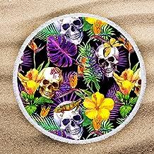 ARIGHTEX Skull Beach Blanket Rainforest Tropical Skull Round Beach Towel Blanket Green Yellow Purple Jungle Leaves Beach Mat