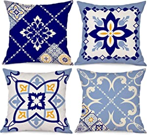 Bonsai Tree Blue Throw Pillow Covers 18x18, Boho Bohemian Decorative Couch Pillow Covers Set of 4, Gray White Geometric Linen Square Cushion Cases Home Decor for Living Room Outdoor Sofa (Blue & Grey)